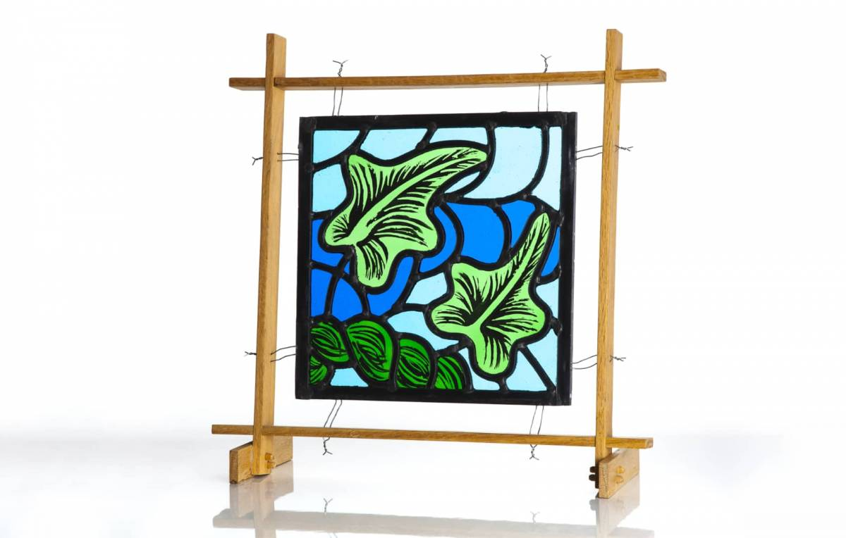 Free standing stained glass panel - ivy leaves