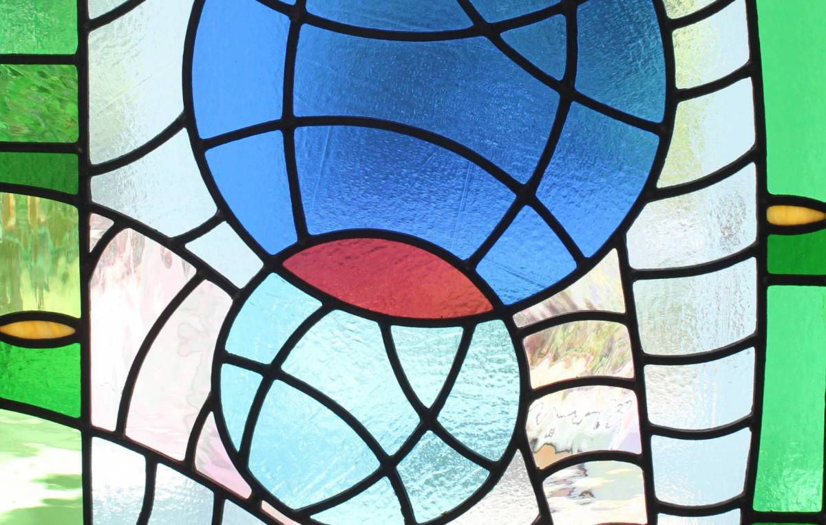 Spiral stained glass panel